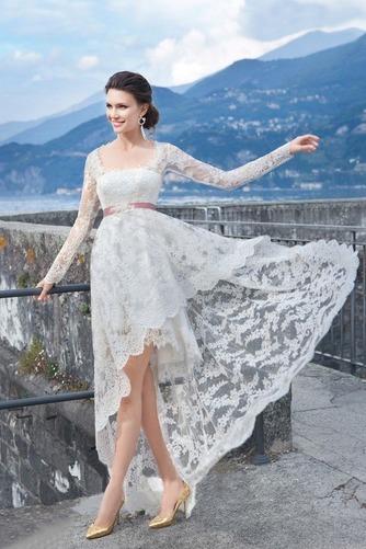 Vestido de novia Cordón Verano Alto Bajo Escote Cuadrado Manga larga - Página 1