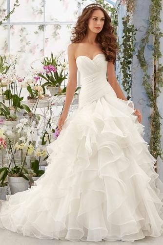 Vestido de novia Invierno Organza Natural Sala Volantes Adorno Glamouroso - Página 1