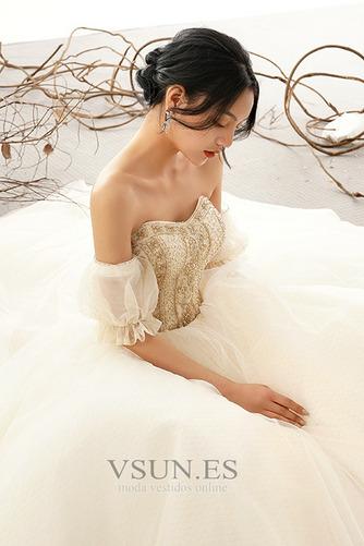 Vestido de novia Cordón Fuera de casa Corte-A Manga corta Abalorio Triángulo Invertido - Página 11