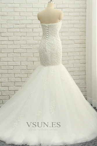 Vestido de novia Elegante Capa de encaje Apliques Sin mangas Corte Sirena - Página 4
