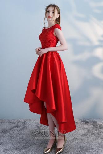 Vestido de cóctel Satén Cordón Abalorio Escote con Hombros caídos Moderno - Página 4