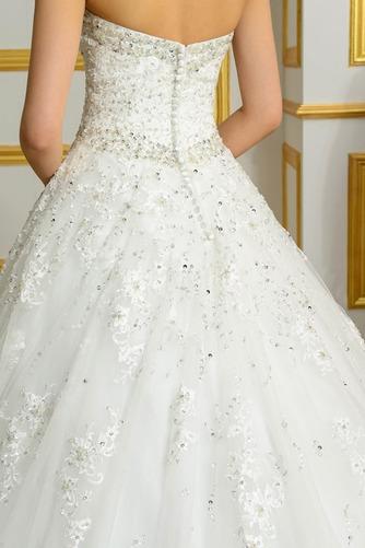 Vestido de novia Espalda Descubierta Invierno Sin mangas largo Corpiño Acentuado con Perla - Página 5