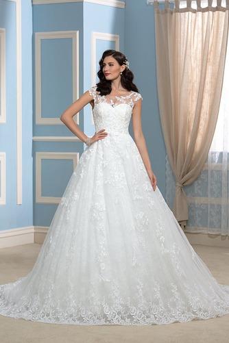 Vestido de novia Encaje Espalda Descubierta Corte-A Sala Otoño Cola Capilla - Página 1