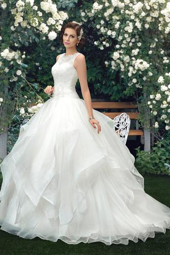 Vestido de novia Cola Capilla Cascada de volantes Organza Modesto Cremallera - Página 2