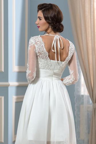 Vestido de novia Hasta la Rodilla Elegante Otoño Apliques Cremallera - Página 5