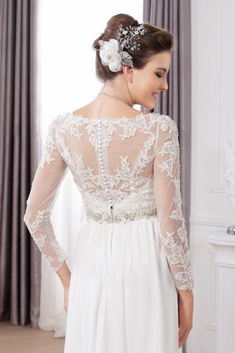 Vestido de novia Pura espalda Imperio Cintura Cinturón de cuentas largo - Página 4