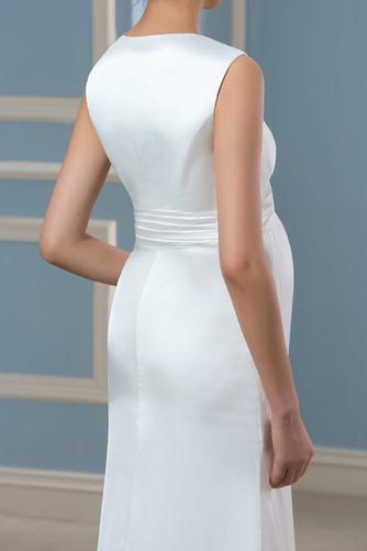 Vestido de novia Tallas grandes Sin mangas Playa Drapeado Imperio Blusa plisada - Página 5