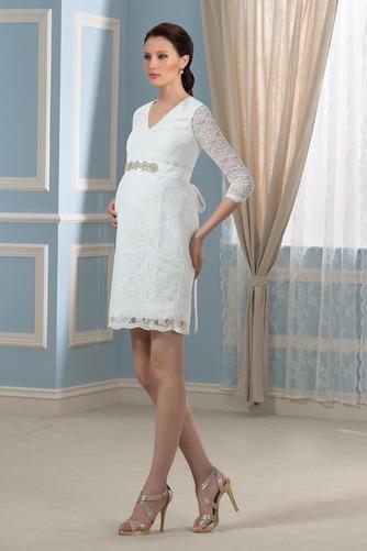 Vestido de novia vendimia Cremallera Encaje Escote en V Mangas Illusion - Página 2