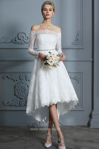 Vestido de novia Botón Moderno Pera Manga larga Asimétrico Dobladillo - Página 1