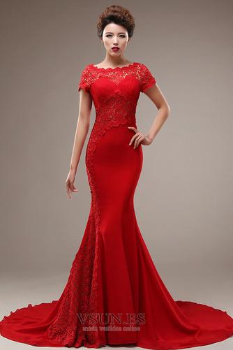 Vestido de novia Corte Sirena Capa de encaje Camiseta Natural Satén Elástico - Página 1