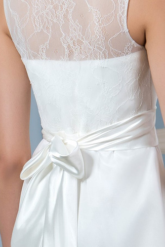 Vestido de novia Playa Drapeado Natural Corte-A Sin mangas Glamouroso - Página 5