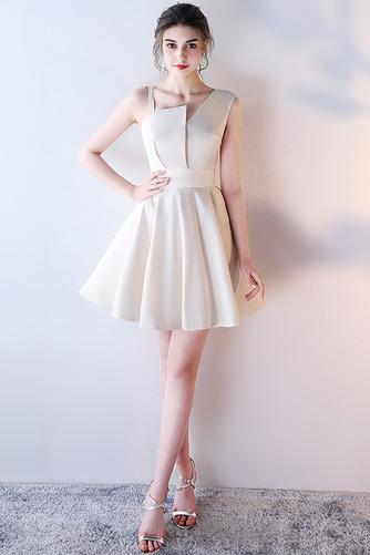 Vestido de dama de honor Corte-A Escote Asimètrico Corto Falta Sin mangas Natural - Página 3