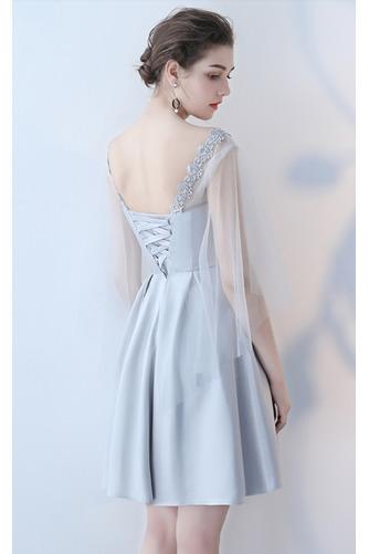 Vestido de dama de honor Cordón primavera Satén Un sólo hombro Sin mangas Bordado - Página 8