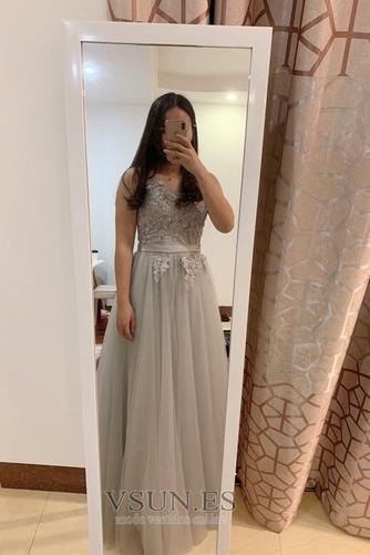 Vestido de dama de honor Hasta el suelo Corte-A Sin mangas Verano Capa Multi - Página 5