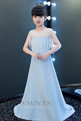 Vestido niña ceremonia Sin mangas Corpiño Acentuado con Perla Natural largo - Página 1
