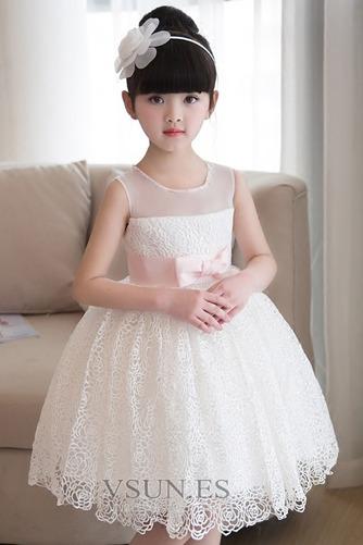 Vestido niña ceremonia Verano Fajas Encaje Natural Sin mangas Corte-A - Página 3