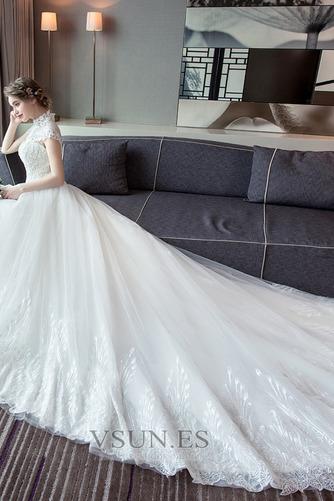 Vestido de novia Encaje Corte-A Natural largo Satén Formal - Página 4