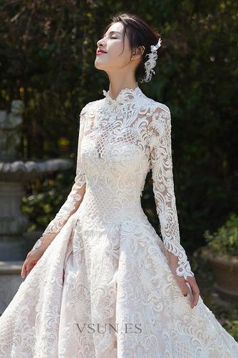 Vestido de novia Cola Real Encaje Camiseta Natural Escote con cuello Alto - Página 3