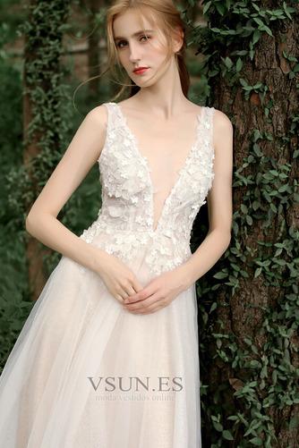 Vestido de novia Corte-A Sin mangas Natural Verano Flores Espalda Descubierta - Página 5