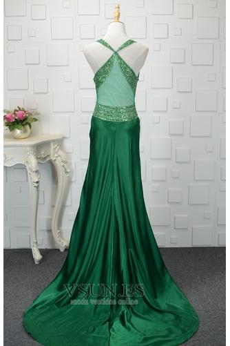 Vestido de noche Natural Corte-A Corpiño Acentuado con Perla Falta Satén Elástico - Página 2