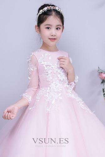 Vestido niña ceremonia Formal Hasta el Tobillo Joya tul Apliques Corte-A - Página 3