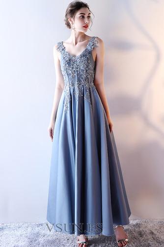 Vestido de fiesta Elegante Escote en V Abalorio Corte-A Satén Hasta el Tobillo - Página 1