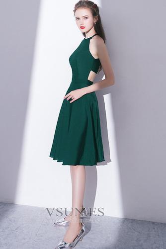 Vestido de cóctel Elegante Falta Corte-A Natural Sin mangas Hasta la Rodilla - Página 3