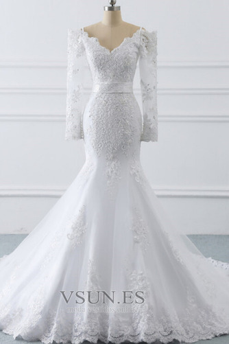 Vestido de novia Manga larga Encaje Triángulo Invertido Cremallera largo - Página 1