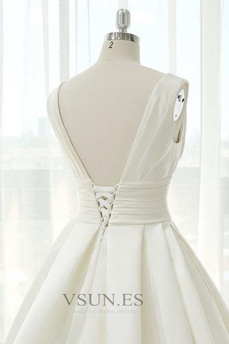 Vestido de novia Blusa plisada Corte-A Sin mangas Natural Espalda Descubierta - Página 5
