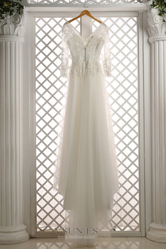 Vestido de novia Cremallera Mangas Illusion Elegante tul Apliques Corte-A - Página 3