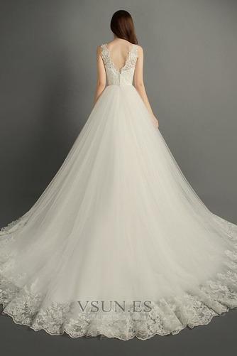 Vestido de novia Invierno Hasta el suelo Sala Apliques Cremallera Corte-A - Página 3