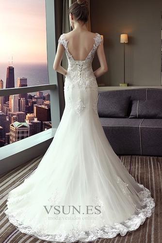 Vestido de novia Corte Sirena Capa de encaje largo Escote con Hombros caídos - Página 2