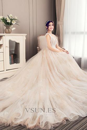 Vestido de novia Corte-A Apliques Baja escote en V Natural Fuera de casa - Página 4