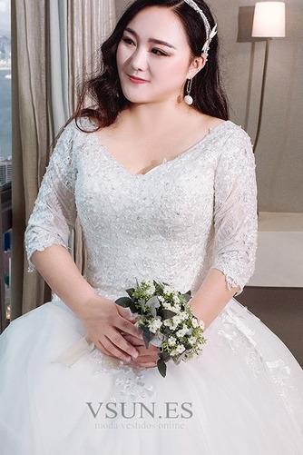 Vestido de novia Encaje Natural Camiseta Capa de encaje Cordón Cola Real - Página 5