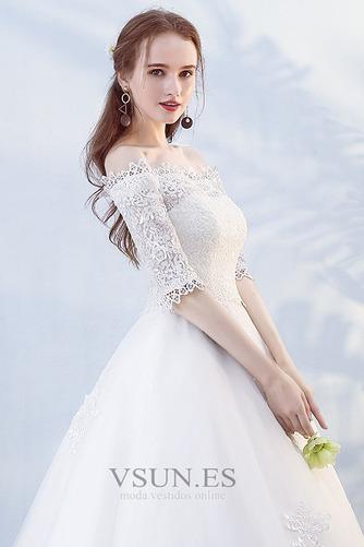 Vestido de novia Hasta el suelo Abalorio Otoño Formal Capa de encaje - Página 4