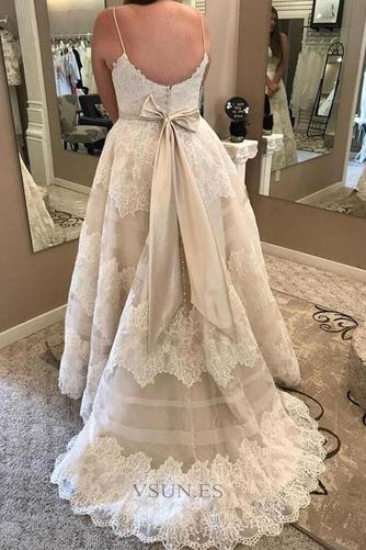 Vestido de novia Sin mangas Reloj de Arena Encaje Cremallera Fuera de casa - Página 1