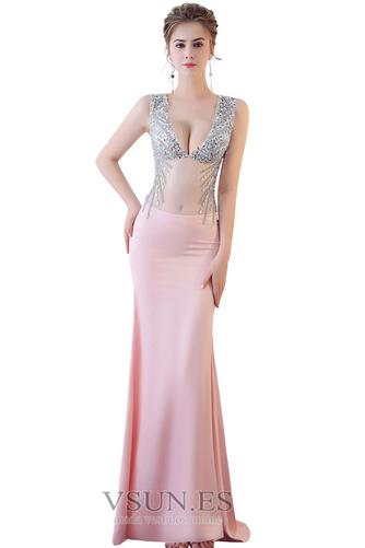 Vestido de fiesta Abalorio Corte Recto Transparente Espalda Descubierta - Página 4