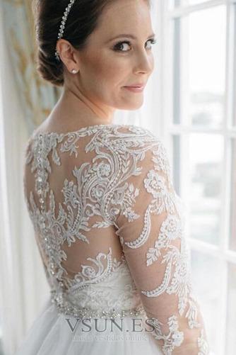 Vestido de novia Cremallera Mangas Illusion Otoño Corte-A Natural largo - Página 2