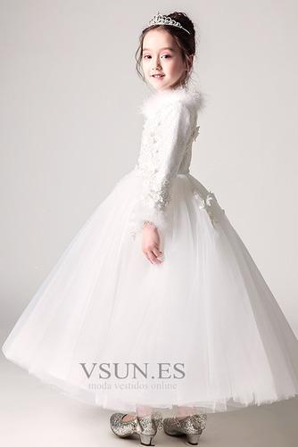 Vestido niña ceremonia Manga larga Falta Piel Corte-A Cremallera Escote en V - Página 4