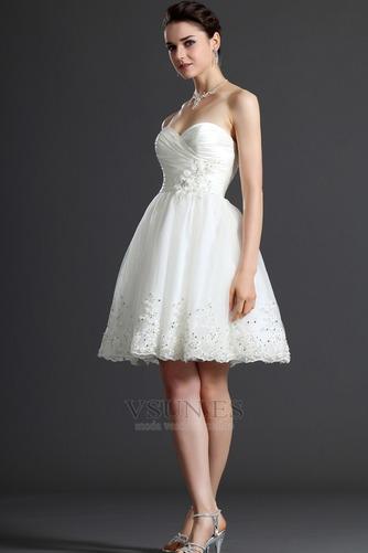 Vestido de novia Verano Sin mangas Natural Delgado Capa de tul Blusa plisada - Página 3