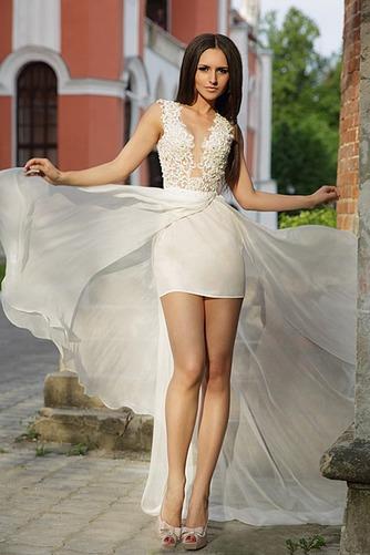 Vestido de novia Sin mangas largo Apliques Fuera de casa Escote en V - Página 1