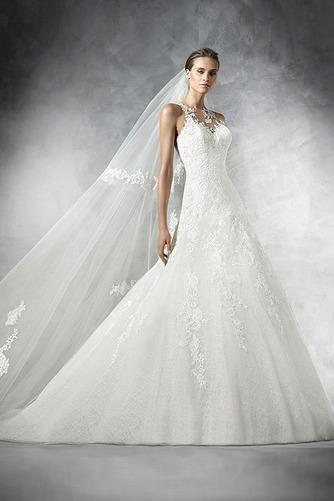 Vestido de novia Pura espalda Cola Capilla Apliques Sala Natural Corte-A - Página 1