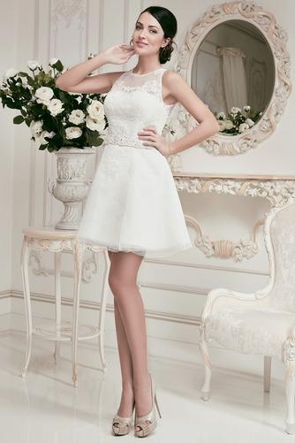 Vestido de novia Corto Joya Alto cubierto Fuera de casa tul Apliques - Página 1