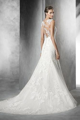 Vestido de novia Corte Sirena Apliques Encaje Otoño Cremallera Joya - Página 2