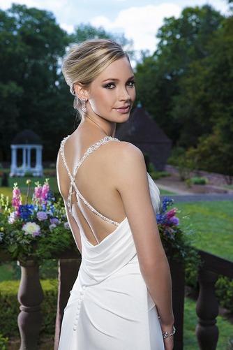 Vestido de novia Natural Gasa Escote de Tirantes Espaguetis Cola Capilla - Página 4