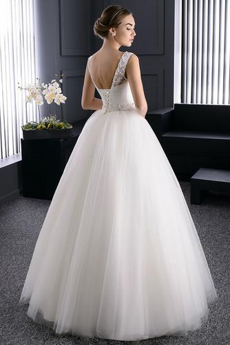 Vestido de novia Verano Barco Perlas Cordón Sala Formal - Página 2
