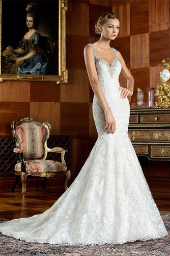 Vestido de novia Corte Sirena Cremallera Cristal Cola Capilla Colores - Página 1