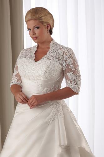Vestido de novia Corte-A Cola Capilla Satén Abalorio Queen Anne Natural - Página 2