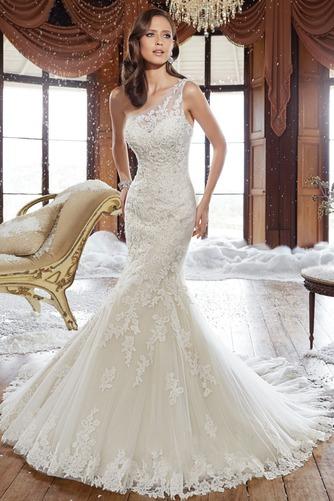 Vestido de novia Corte Sirena Sala primavera Un sólo hombro Natural - Página 1