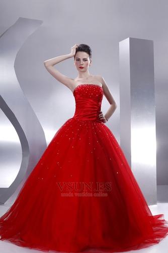 Vestido de quinceañeras Sin tirantes Rojo tul Invierno Cola Capilla Con lentejuelas - Página 1